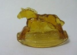 BENNET ART GLASS ROCKY AMBER  OUR PRESIDENTS FAVORITE ROCKING HORSE FIGU... - $9.99