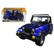 1992 Jeep Wrangler Metallic Blue 1/24 Diecast Model Car by Jada 98082 - $32.30