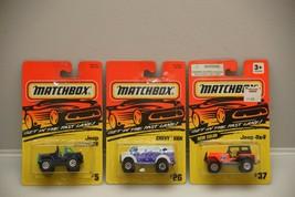 Matchbox (Lot of 3) Vehicles 1:64 NIP Jeep Wrangler/Chevy Van/Jeep 4 X 4 - $4.99