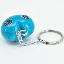 Tabaka Chigware Hand Carved Kisii Soapstone Sky Blue 3D Heart Keyring Keychain image 3
