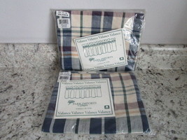 """Two Navy Plaid Valances Park Imports 72"""" x 14"""" New in Package Charleston... - $19.99"""
