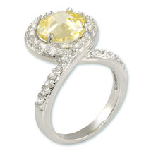 10CTW Light Yellow Canary Solitaire & Clear Pave Rhodium Bridal Ring - $29.99