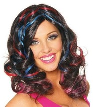 NEW Babelicious Costume Wig Black with Pink Blue Highlights by Franco - $9.89