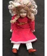 Porcelain Doll 9 Inch Antique Style With Bendable Arms And Legs Pink Dress - $8.04