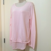 Ann Taylor Outlet Sweater Ladies Size Medium Scoop Neck Long Sleeve Pink Cotton - $15.44