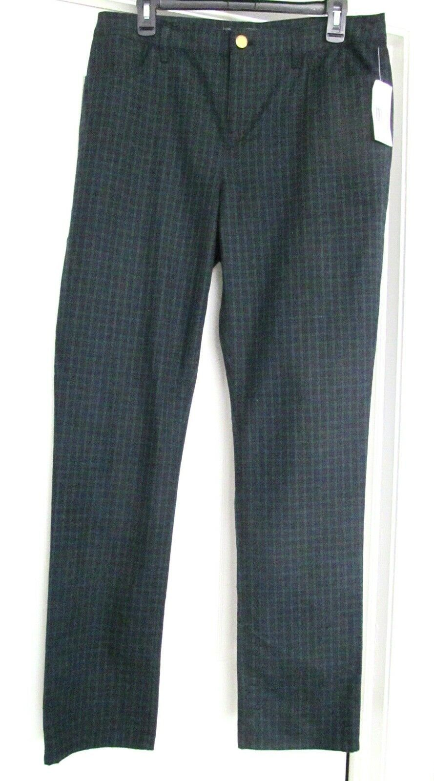 RALPH LAUREN Jean Style Pants Tartan Look 5 Pkt Cotton Blend Women's 10 NEW