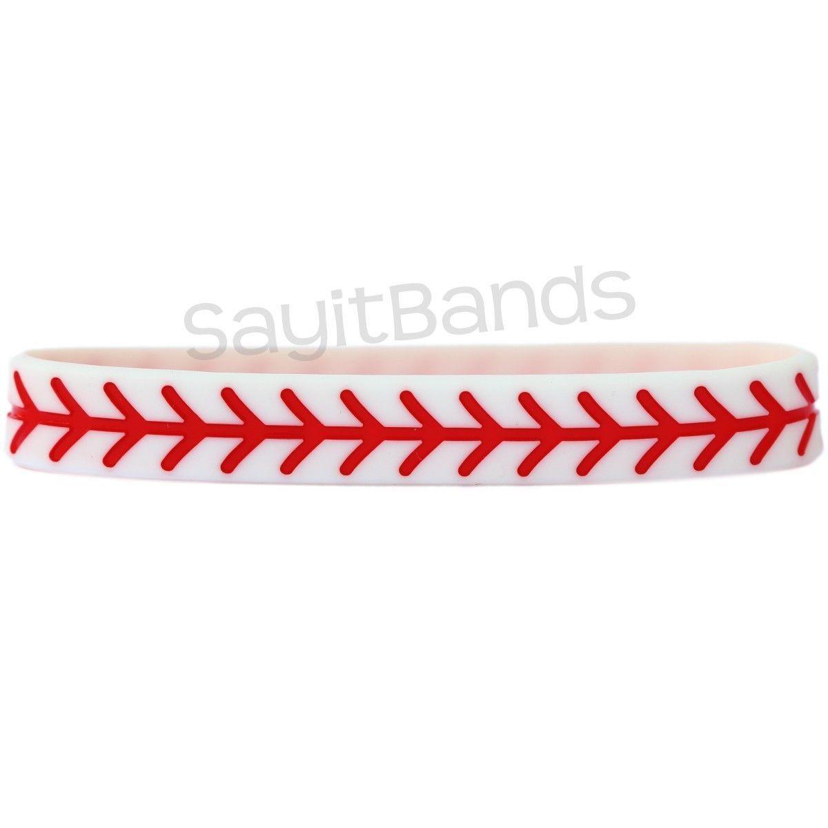 SayitBands 10 Baseball Design Wristband Silicone Bracelet