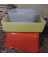3 Vintage Maid Of Honor Dishes Fridgie loaf pan Refrigerator gray red ye... - $37.40