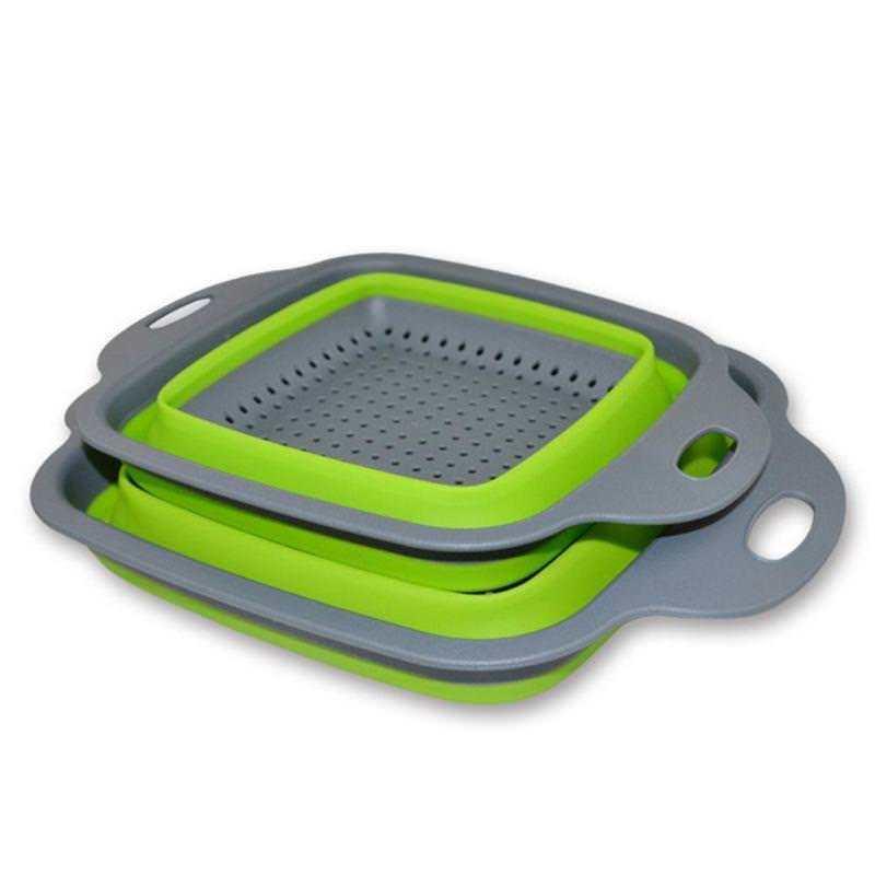 2pcs Vegetable fruit basket set Creative kitchen Folding basket square Leak