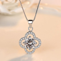Clover Necklace For Women Crystal Necklace Sterling Silver Necklace - $23.67