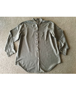 Abercrombie & Fitch Sandwashed 100% Silk Shirt Womens M Army Drab Olive Green - $22.76