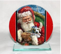 Christmas Santa & Dog Cut Glass Round Plaque, Ltd Edition | Cellini Plaq... - $31.10