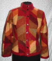 Talbots Petites S Cardigan Sweater Mohair Blend Soft Fall Colors Multi C... - $23.95