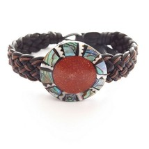BLACK ORANGE CORAL LEATHER WOVEN TIE ON FRIENDSHIP BRACELET WITH ABALONE... - $9.45
