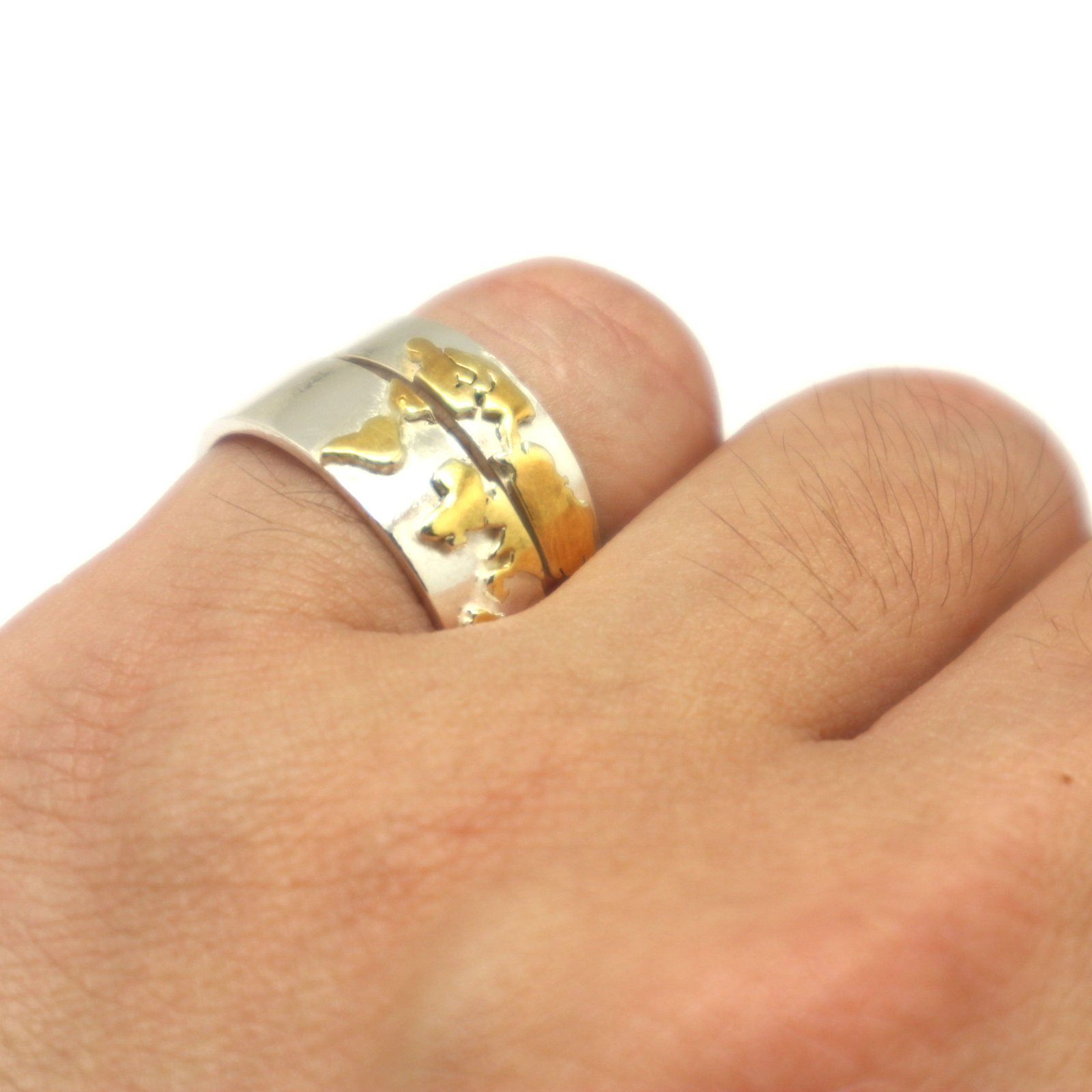Gold Over Silver World Map Ring image 4
