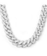 Silver Fully Iced Out Heavy Two Row Men's Diamond Cuban Chain - £87.47 GBP+