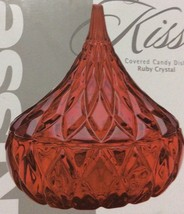 Shannon, Lead Crystal, Covered Candy Dish, Hersheys Kiss, Ruby Red. - $18.75