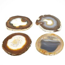 4pc. Polished Agate Quartz Crystal Sliced Slab Gemstone Coaster Set image 2