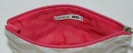 Ganz Brand ER39002 Style 101 Chevron Design Beige Tan Pink Zipper Makeup Bag image 5
