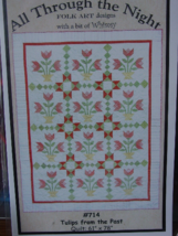"""Quilting Pattern """"Tulips From the Past"""" 61"""" x 78"""" UNCUT - $4.99"""