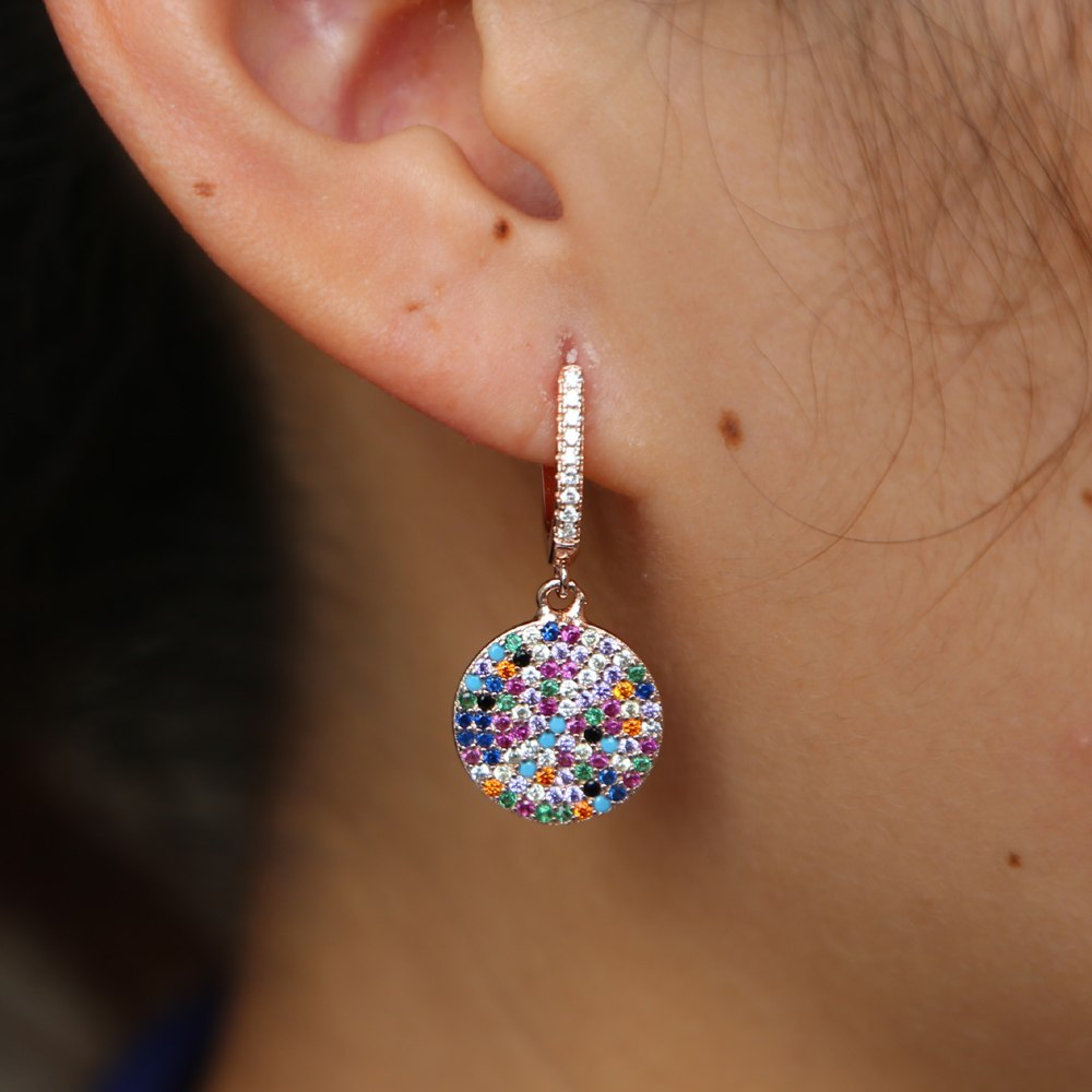 2019 TOP quality Mix CZ ROUND shape drop Earring for woman wedding banquet hoop