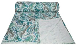 Indian Green Paisley Print Kantha Quilt Twin Size Throw Bedspread Boho ... - £30.39 GBP