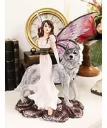 "Ebros Purple Winged Fairy Diana with Alpha Snow Direwolf Wolf Statue 10""... - €45,88 EUR"