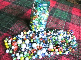 """THREE-HUNDRED glass marbles. Mixed lot, BIG and small 5/8"""" to 1"""" New Old... - $44.98"""