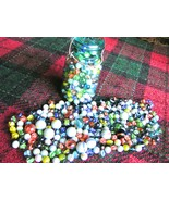"THREE-HUNDRED glass marbles. Mixed lot, BIG and small 5/8"" to 1"" New Old... - $44.98"