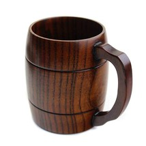 360ml Handcraft Wooden Beer Mugs with Handle Medium Size Wood Cup Eco fi... - $23.36