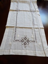 "VTG White thin cotton Embroidery cut work Decor Accent Table Runner 17""x43"" - $44.55"