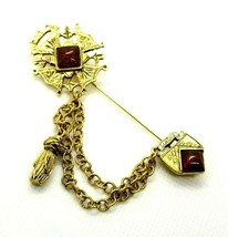 VTG Lords 1932 Red Stone Maltese Cross Chained Stick Pin Alsace Shiel Ta... - $38.61