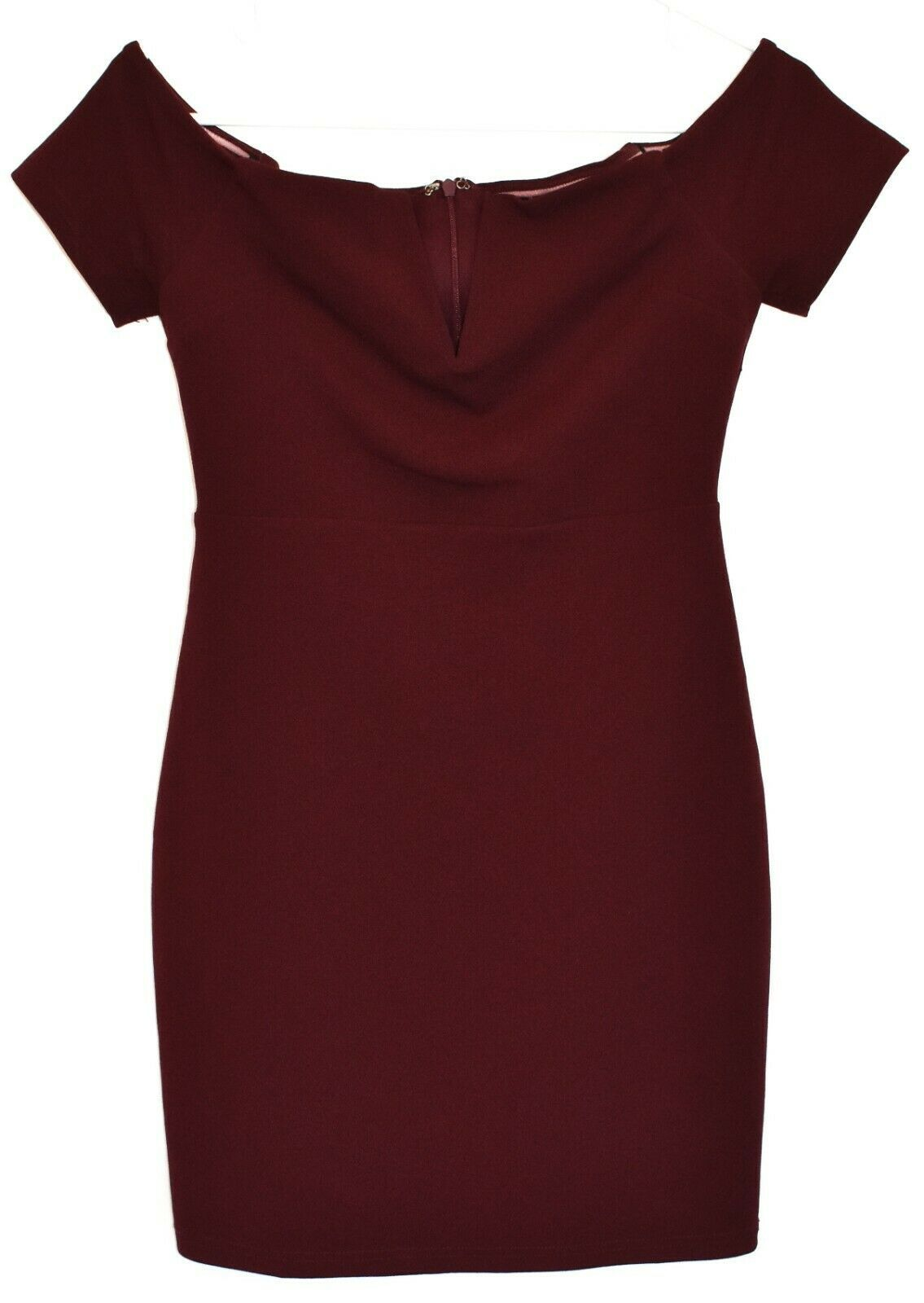 Lulus Women's Maroon Cheers to This Off-the-Shoulder Bodycon Dress Size S