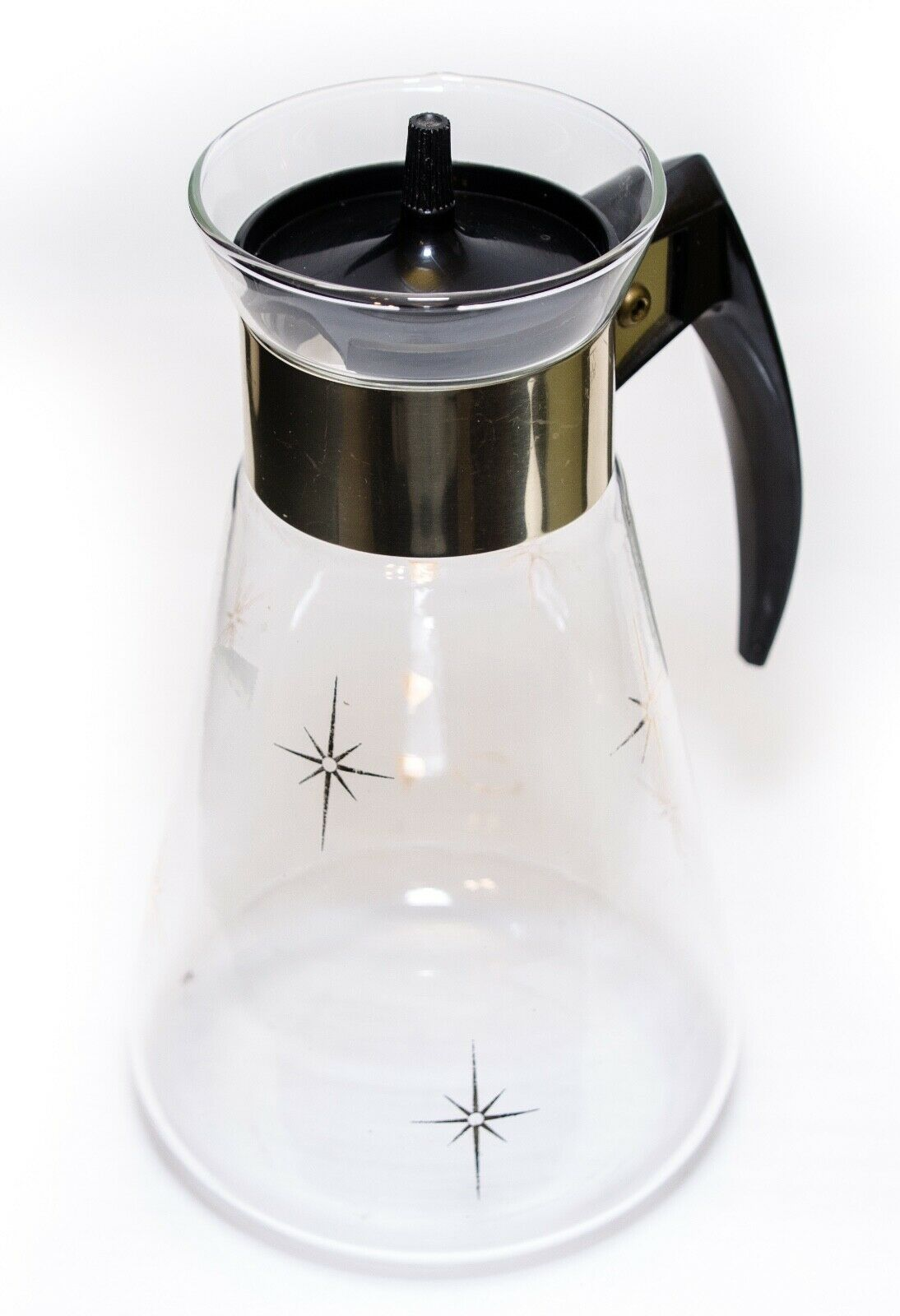 Corning Coffee Pot Carafe Atomic Star Burst 6 Cup Heatproof Glass 1960's Vintage - $15.35