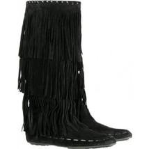 JIMMY CHOO boots black suede 'Wendy' fringe SIZE 36.5 NEW - $13.378,19 MXN