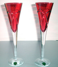 "Waterford Love & Romance Champagne Flutes Crimson Red Crystal 11""H Irela... - $264.90"