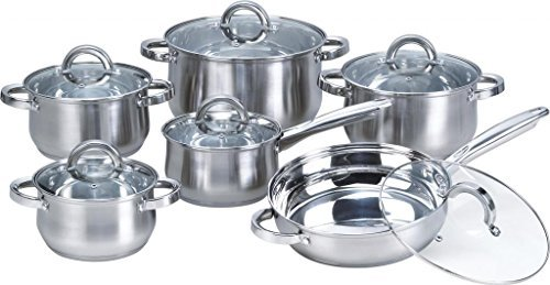 Heim Concept W-001 12-Piece Induction Ready Stainless Steel Cookware Sets with G