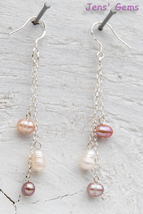 10 Inch Heals: Fresh water pearls in white & pink on sterling silver chain - $35.00
