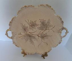 California Original Pottery Beige Handled Serving Tray #701 Gold Trim Sp... - $19.79