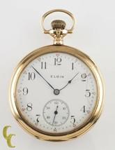 Elgin Open-Face 14k Yellow Gold Antique Pocket Watch Gr 364 12S 15J 1910 - $964.76