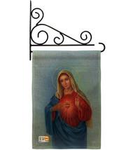 Sacred Heart Mary Burlap - Impressions Decorative Metal Fansy Wall Bracket Garde - $33.97