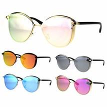 Womens Color Mirror Metal Rim Cat Eye Trendy Fashion Sunglasses - $12.95