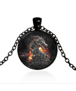 FIERCE DRAGON CABOCHON NECKLACE   #9900 >> COMBINED SHIPPING - $4.95