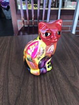 Colorful Ceramic Cat Figure From Mexico Red Pink Yellow Gato Multi Color - $12.45