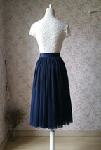 NAVY Midi Tulle Skirt Navy Blue Plus Size Tulle Skirt High Waisted Navy Tutu image 3