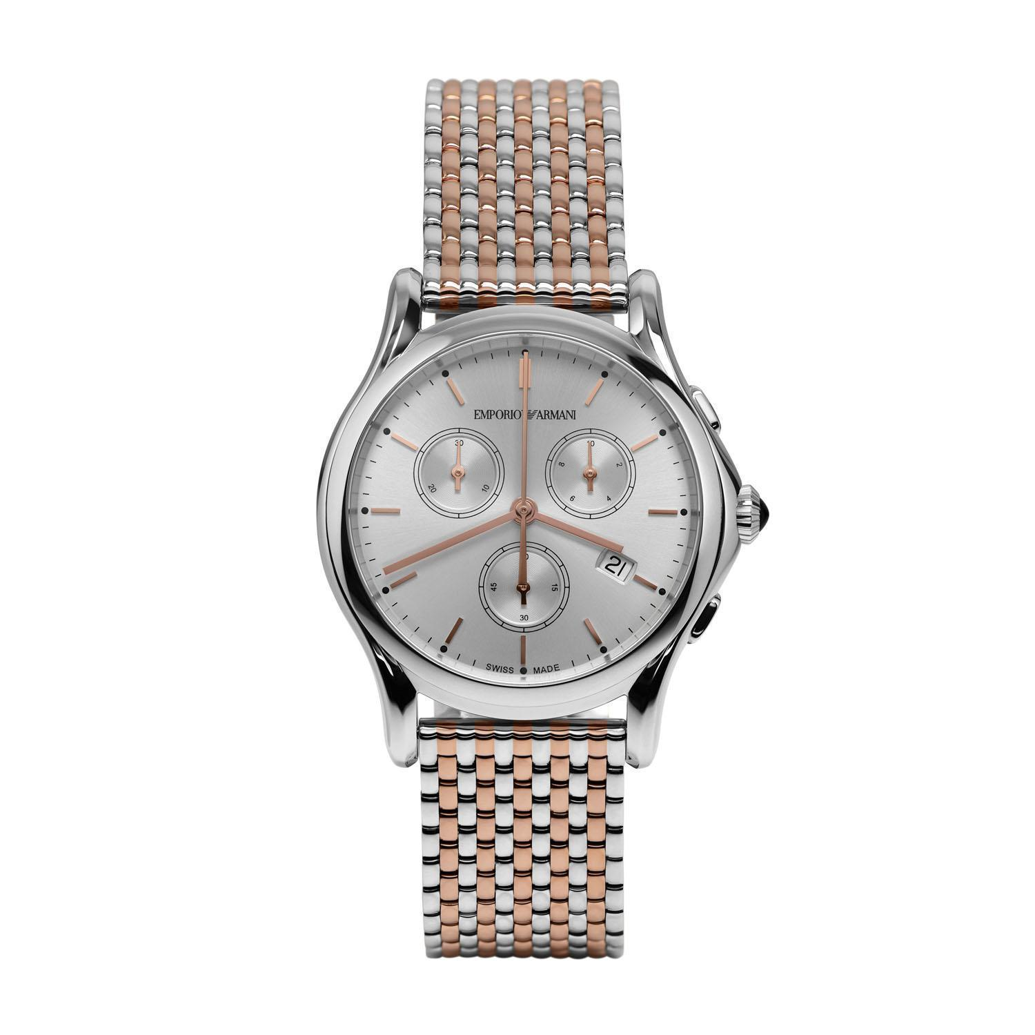 Emporio Armani Swiss Made Chronograph Steel & Pink Gold Bracelet Watch ARS6008 - $499.99