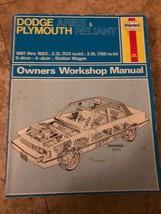 Haynes DODGE Aries & PLYMOUTH Reliant 1981-1983  Repair Workshop Manual - $7.91
