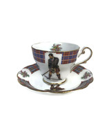 Vtg Royal Standard Clan Cameron Stewart Bonnie Scotland Cup & Saucer Golfer T1 - $42.11