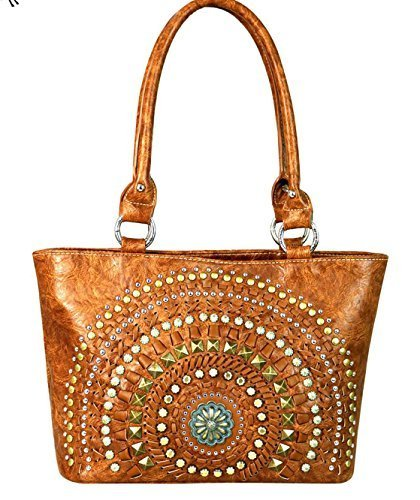 Western Studded Concho Shoulder Purse (Brown)