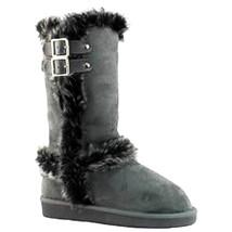 Qupid's Oakley-92 Womens Mid-Calf Round Toe Flat Bottom Winter Boots GREY - $15.57